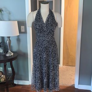 VTG Evan Picone halter black and white dress size 4